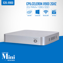 With fan XCY Mini PC celeron J1900 2G RAM 128G SSD+WIFI Quad Core Power Supply 12V/5A Thin Client Windows 7 Wireless  300M