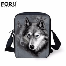 FORUDESIGNS Men Messenger Bags Cool Animals Wolf Shoulder Bag 3D Denim Animal Printed Crossbody Bag Women's Travel Bag Handbag(China)