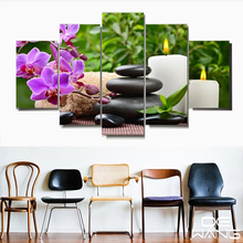 5 Piece Canvas Art Posters And Prints Vintage Picture Frames Paintings By Number Canvas Painting Calligraphy Candle Lotus Flower(China)