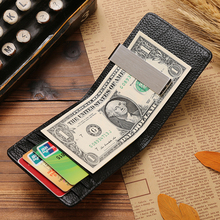 Genuine Leather Luxury Brand Men Wallet Purse Hold Bill With Male Slim Clamp For Money Clip Metal Holder Cash Credit Card Pocket