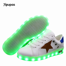 7ipupas USB illuminated krasovki luminous sneakers kids glowing shoes with sole led light up sneakers girls&boys women led shoes