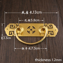 Chinese style Antique handles for furniture Door bookcase drawer Pure copper handle Retro cabinet knobs pull handles