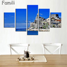 5 Piece Modern Canvas Painting Italy Landscape Wall Art Poser Print Beautiful City River Pictures Home Decor for Bedroom