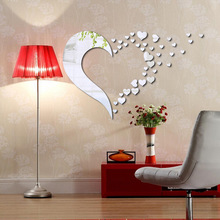 MAARYEE New Creative Wall Sticker Romantic Acrylic Mirror Heart wall Decal Fashion Home Decoration Art Mural(China)