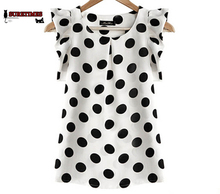 2017 Hot Sales New Summer Womens Ladies Chiffon Blouse Puffed Short Sleeve Dot Print Top Blusa Plus Size S-XXL Color Black White