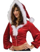 Women Costume Top Long Sleeve Red Green Lovely Front Zipper Miss Santa Christmas Costume W4004