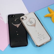 KINGXBAR for iPhone7 Phone Cases Star Series Swarovski Diamond PC Case for iPhone 7 4.7 - Gold Edge / Beautiful Feather