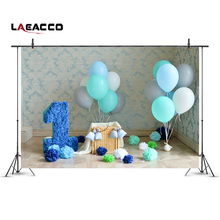 Laeacco Damask Texture Wall Blue Balloons 1st Birthday Baby Photography Backdrops Vinyl Custom Backgrounds For Photo Studio(China)