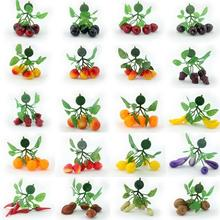 Simulation Mini fruit branches string hotel decoration hanging string hang Plastic Crafts Fridge magnets mixed 20 pcs/lot(China)