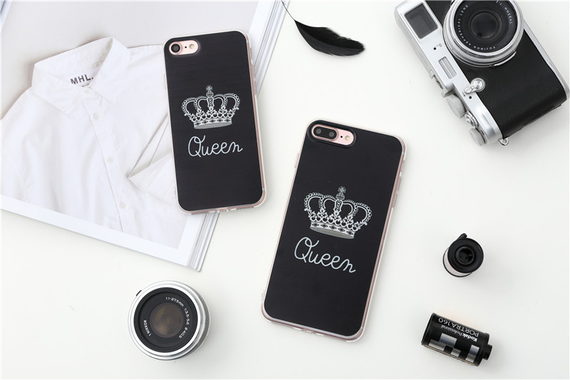 Valentine KING Queen Case for iPhone 6 Case for iPhone 5s 5 Cover Clear Silicone TPU Soft Phone Case for iPhone 8 7 6s Plus Cape 12