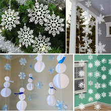 12 pcs Christmas Tree White Snowflake Charms Holiday Party Festival Ornaments Decor Bulk Snow Christmas Home Decorations P5(China)