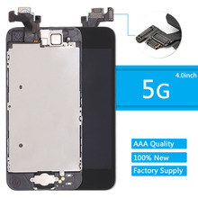 For iPhone 5 Screen + Home button front camera speaker for iphone 5 LCD Display Assembly Digitizer Replacement Black(China)