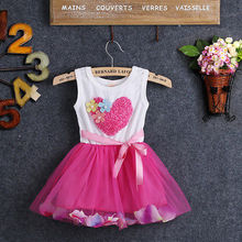 Newborn Baby Kids Girls Princess Girl Dresses Clothes Fashion Beautiful Love Petal Flower Tulle Fancy Dress Clothing Girl