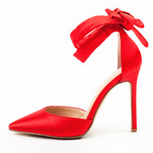 Red Sandals Women High Heels Sandals Pointed Toe Ankle Strap Summer Sandals Women Sexy Dress Shoes Woman Lace Up Sandals K-112