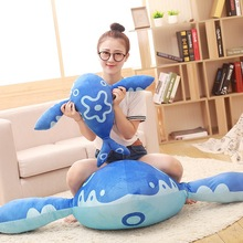 60cm 80cm Baby toy Plush doll Stuffed fish blue Zhuang Zhou's mounts Kun carp sleep bed Pillow cartoon Baby Child girls birthday(China)