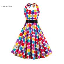 Charmian Women's New Fashion Summer Dress Colorful Polka Dots Print Casual Halter Dress Elegant Evening Party Belted Swing Dress