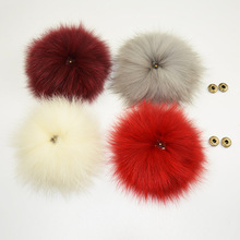 Genuine Fox Fur Pompoms Real Fur Ball with Snap Buttons Accessories for Winter Hats Beanie Scarf(China)