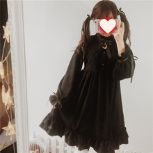 Moonlight Castle Cute Women's Color Black Gothic Lolita Dress Ribbon Bow Thick Chiffon Round Collar Dolly Dress One Piece(China)