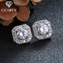 Square 1.5 Carat Main Stone AAA Stud Earrings For Women Brincos With Fine Austrian Crystal Best Gifts E035(China)