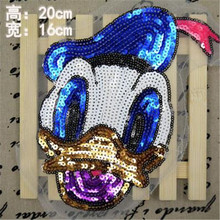 Embroidered iron on patches for clothes 20CM sequins deal with it clothing DIY Motif Applique Cartoon Donald Duck Free shipping