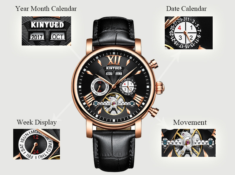 KINYUED Flying Tourbillon Watch Skeleton Men Leather Waterpoof Business Calendar Mens Mechanical Watches Automatic montre homme 6