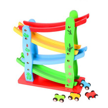 28cm Baby Kids Wooden Ladder Gliding Car Educational Model To Slide Toy Wooden Slot Track Car Toys For Children Boy Gifts(China)