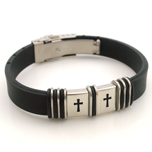 Dolaime Men's new sports bracelet Stainless steel carving Small square cross Rubber bracelet GL085(China)