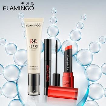 Livraison gratuite Beauté Maquillage marque flamingo mode V prix mince mascara BB crème de qualité alimentaire sain rouge à lèvres nude maquillage ensemble