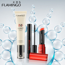 Beauty Makeup brand Flamingo fashion V awards slender mascara 35ml BB cream food grade healthy lipstick nude makeup set(China)