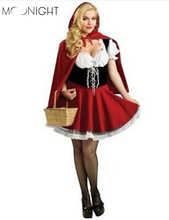 MOONIGHT New Fairy Tales Little Red Riding Hood Costume Women Halloween Party Fancy Dress S-4XL(China)
