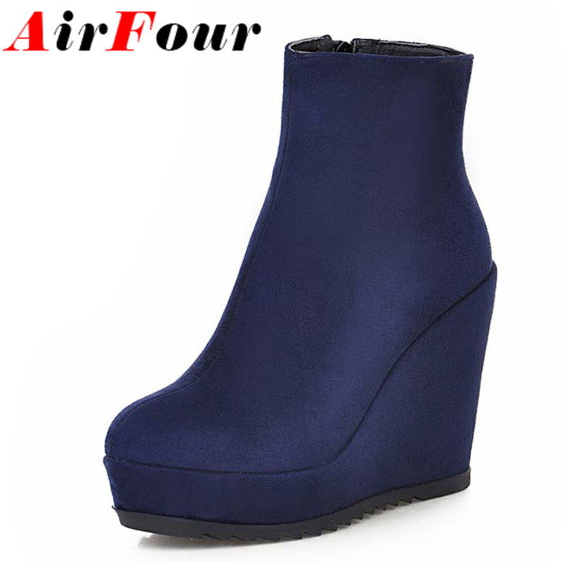 Airfour New Women Boots High Quality Round Toe Ankle Boots Fashion High Heels Platform Autumn Winter Wedges Boots for Women sale<br><br>Aliexpress