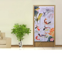 Classical Chinese Style Fish Lotus Knitting Curtain Romantic Room Taiwan Feng Shui Decoration