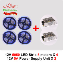 20 meters 12V 5050SMD LED Strip Lights 60led/m & 2pcs 60W Power Supplies DIY Kit Home Living Room Decoration Lighting(China)