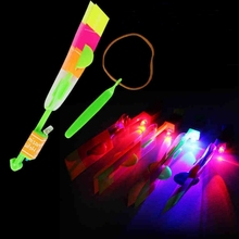 LED Kids Toys Amazing Light Arrow Rocket Helicopter Flying Toy Light Flash Toys Party Fun Rubber Band Catapult Flying