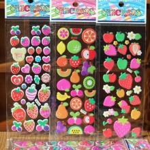 &% 5pcs/lot HOT fruits orange apple kids rooms bubble Stickers school Reward adhesive Scrapbook 3d cartoon Puffy foam stickers(China)