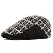Wool blending autumn and winter hat all-match check elegant male women's fashion beret cap