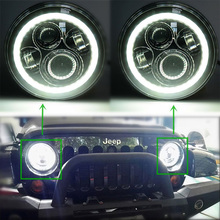 7'' Round H4 LED Headlight with Halo ring High/Low Dual Beam for Jeep Wrangler 97-15 Hummer Motorcycle headlamp