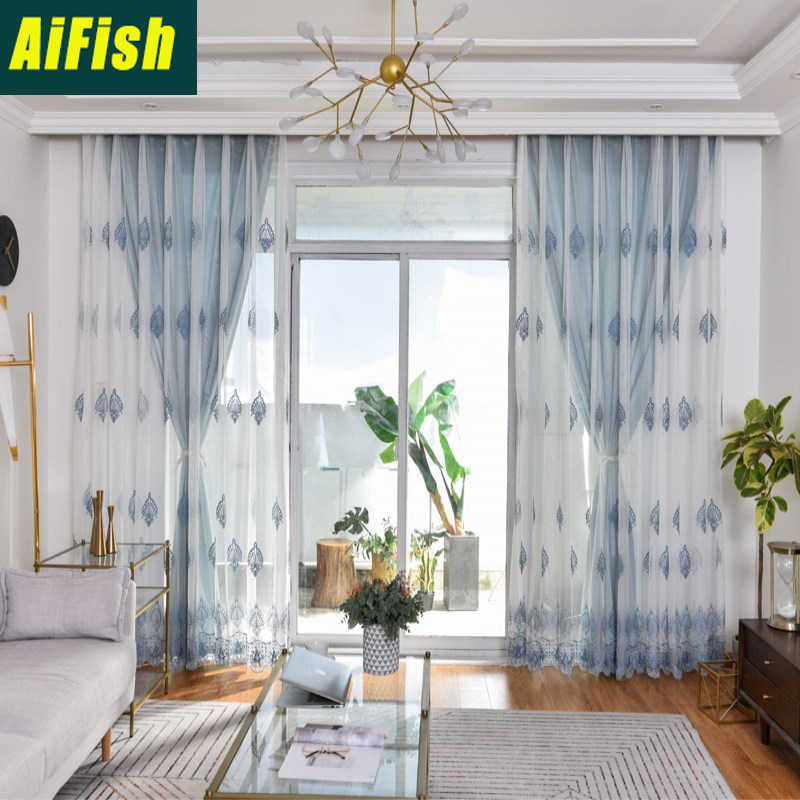 Embroidered blue Flower Lace sheer fabric Voile Curtains For Living Room Purple Cloth Bedroom Curtains Window set decor wp024&3