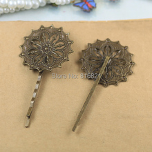 35mm Blank Bobby Pins Bases Settings Flat Circle Filigree Flower pads Hair Clip Hairpins Crafts DIY Findings Silver/ bronze tone
