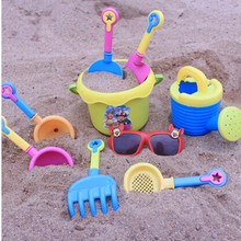 Funny Beach Sand Play Water Toy 9pcs Kids Seaside Excavating Tools With Spade Shovel Sunglasses Outdoor Hourglass Paddle Set