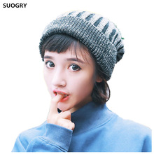 SUOGRY Womens New Winter Hats Knitted Twist Cap Thick Beanie Hat(China)