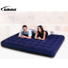 Outdoor Bedroom Blue Ultra Double Daybed Lounger Airbed Inflatable Pull-Out Sofa Couch Air Bed Mattress Sleeper FLOCKED(China)