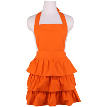 Neoviva Cotton Canvas Kitchen Apron for Housewife with Flirty Ruffles and Full Coverage, Style Susan, Solid Flame Orange