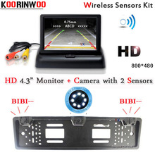 KOORINWOO Universal License Plate Frame Two Reversing Radar Parking sensors  PAL/NTSC Car Rearview Reverse Car Monitor Digital