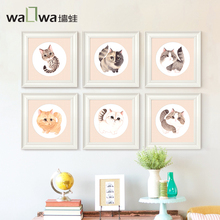 Frog Miao Xingqiu modern simple children's room wall decoration painting murals to warm the bedroom healing a box draw cat G(China)
