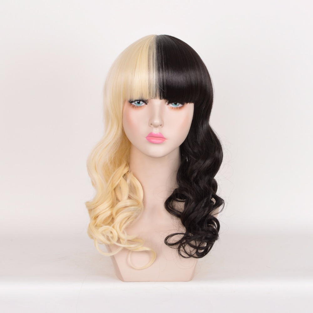 Harajuku Cosplay Wig Party Women Sexy Long Curly Costume Synthetic Hair Ladies Black And Yellow Wigs Female Peruca Pelucas<br><br>Aliexpress