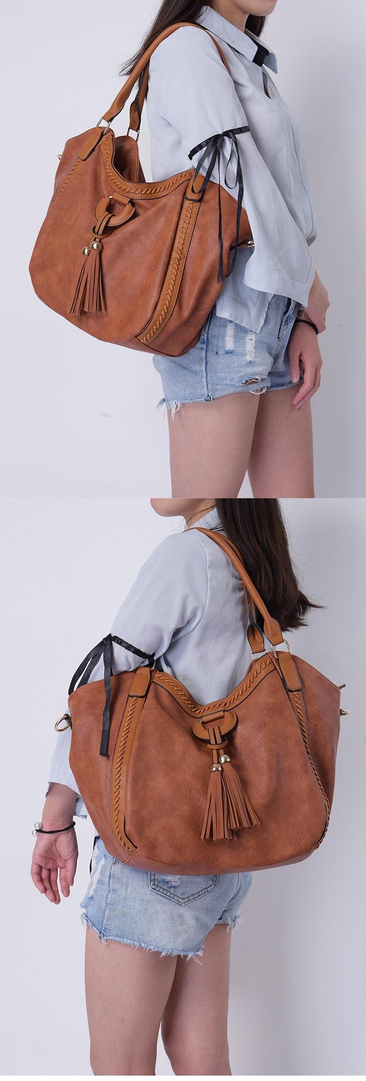 NIGEDU Leather Casual Tassel Handbag Large Famous Brands Designers Pu Leather Handbags Women Big Tote Bags Female Messenger Bags Bolsos Blue (8)