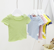 Baby Boy Girl T-shirt Kids Tops Bamboo Cotton Wood Ear Pure Color T-shirts China Cheap Infants Clothes 0-3 Years A320