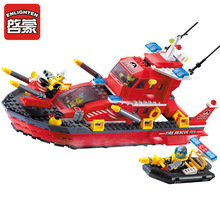 339Pcs Enlighten Bricks Fire Station Series Sprinkler Boats Building Blocks Educational Toys Gift For Kids Children(China)