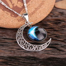 Handmade Silver Crescent Moon Moonstone Retro Charm Crystal Necklace Galaxy Cosmic Star Universe Charm Pendant Jewelry For Gift